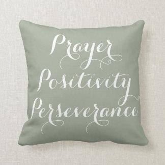 Prayer, Positivity, Perseverance Typography Pillow