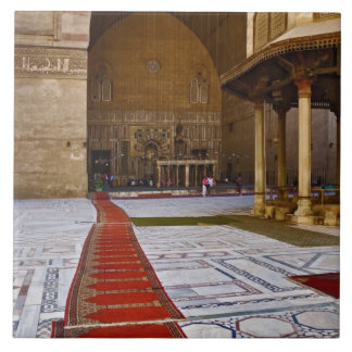 Prayer rugs leading into Islamic mosque, Cairo, Large Square Tile