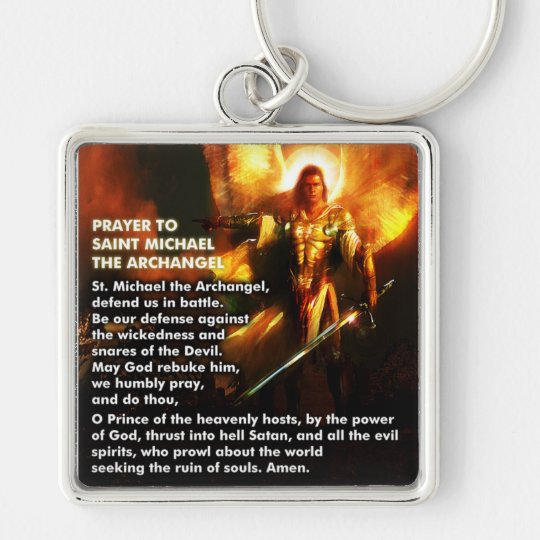 Prayer to Saint Michael The Archangel Keychain