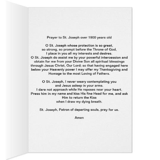 Prayer to St. Joseph ( prayer over 1900 years old) Card