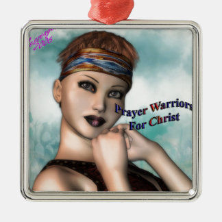 Prayer Warrior Silver-Colored Square Decoration
