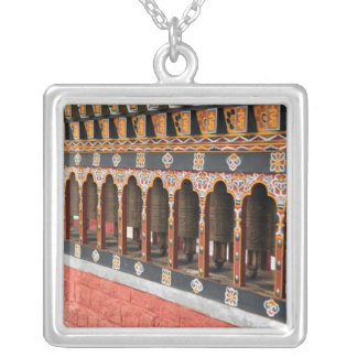 Prayer Wheels of the central square in Thimphu Square Pendant Necklace