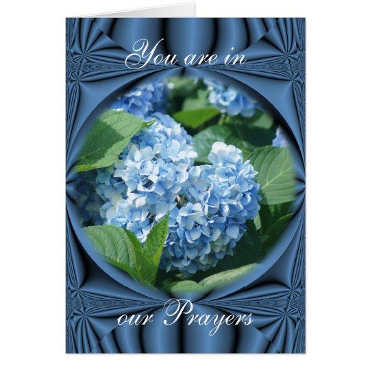 Prayers - blue hydrangea- customise any occasion card