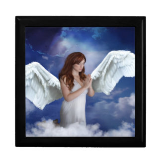 Praying Angel in the Clouds Large Square Gift Box