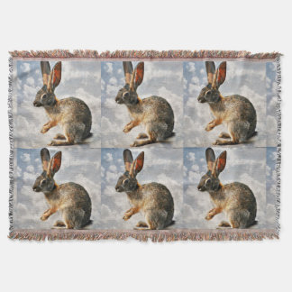 Praying Bunny In the Clouds Custom Throw Blanket
