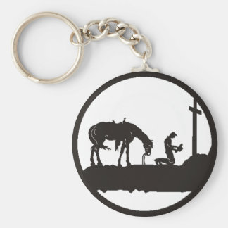 praying cowboy key ring