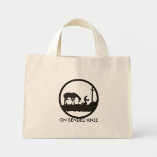 praying cowboy, ON BENDED KNEE Canvas Bags