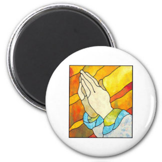 Praying Hands 6 Cm Round Magnet