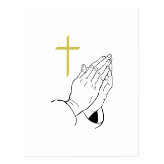 PRAYING HANDS AND CROSS POSTCARD