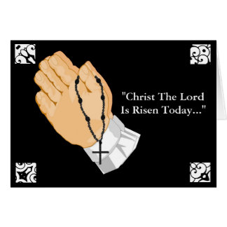 Praying Hands Child Cross Christ The Lord Risen Greeting Card