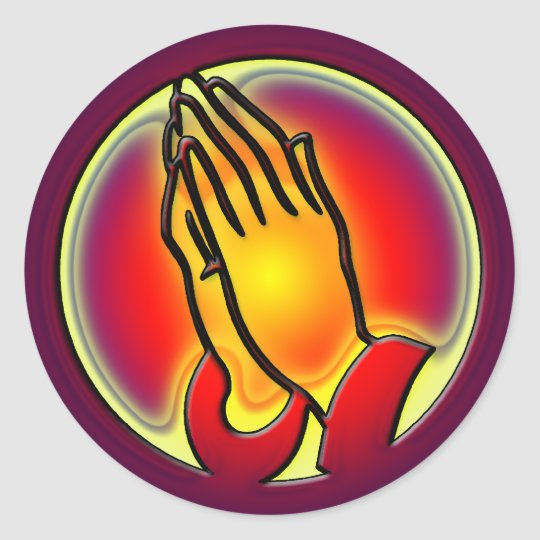 PRAYING HANDS ROUND STICKER