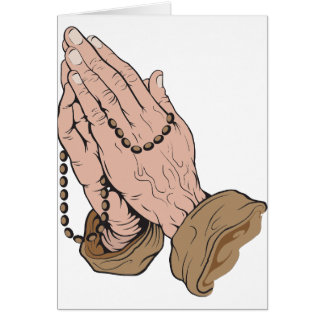 Praying Hands with Beads Greeting Card