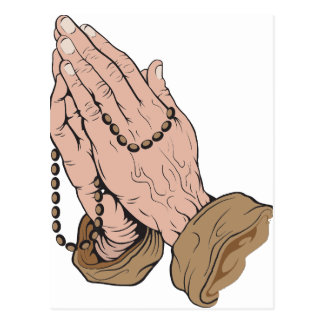 Praying Hands with Beads Postcard