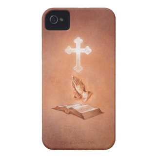 Praying Hands with Cross and Bible iPhone 4 Cover