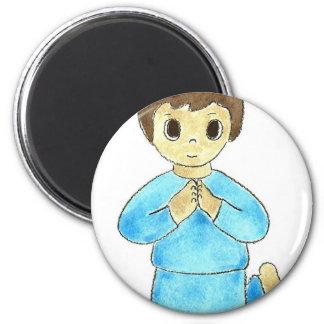Praying Little Boy 6 Cm Round Magnet