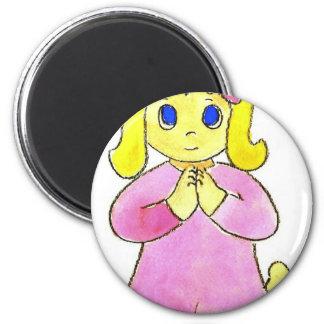 Praying Little Girl 6 Cm Round Magnet