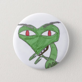 praying mantis 6 cm round badge