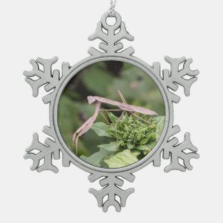 Praying Mantis Pewter Snowflake Decoration