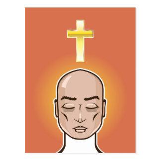 Praying person Gold cross Meditation Postcard