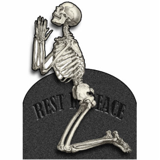 Praying Skeleton Cutout Photosculpture Standing Photo Sculpture