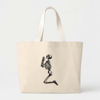 praying skeleton large tote bag