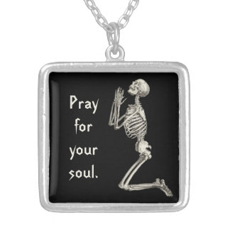 Praying Skeleton Silver Plated Necklace
