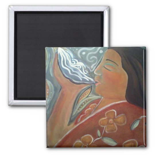 Praying With Water Square Magnet