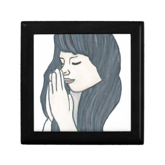 Praying woman small square gift box