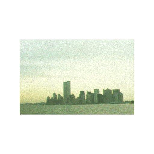 Pre 9/11/01 lower New York skyline on canvas Gallery Wrap Canvas