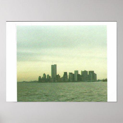 Pre 9-11-01 lower New York skyline Posters