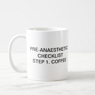 PRE-ANAESTHETIC CHECKLIST STEP 1 COFFEE BASIC WHITE MUG