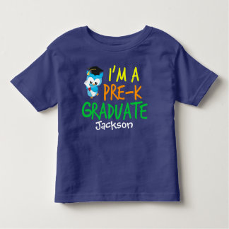 Pre-K Graduate Cute Blue Owl Custom Toddler T-Shirt