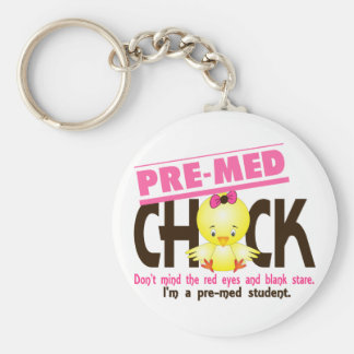 Pre-Med Chick 2 Basic Round Button Key Ring