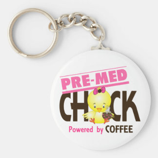 Pre-Med Chick 4 Basic Round Button Key Ring