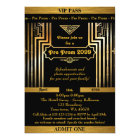 Pre Prom invitation,Gatsby style,ticket,black gold Card
