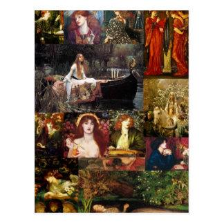 Pre-Raphaelite Collage Postcards