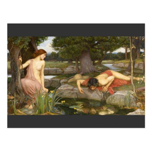 Pre-Raphaelite Painting Echo and Narcissus Postcards