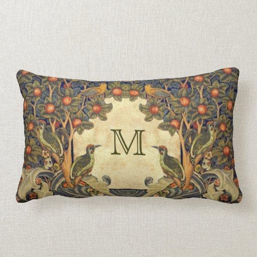 Pre Raphaelite Wm. Morris CUSTOMIZABLE MONOGRAM Throw Pillows