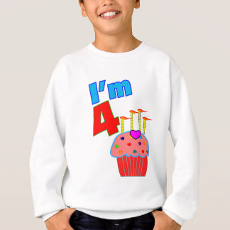 "Pre School Birthday ""I'm 4"" Adorable Cupcake Sweatshirt"