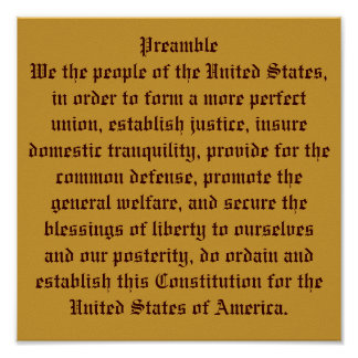 Preamble of the Constitution. Poster