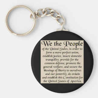 Preamble to The Constitution of the United States Basic Round Button Key Ring