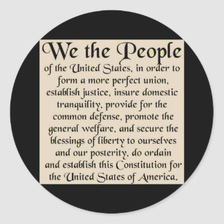 Preamble to The Constitution of the United States Round Sticker