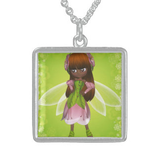 Precious African American Fairy Girl with Red Hair Square Pendant Necklace