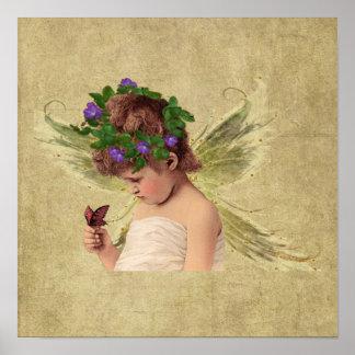 Precious Angel Girl w/butterfly-  Print