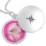 precious  baby photo necklace in pink flower frame pendants