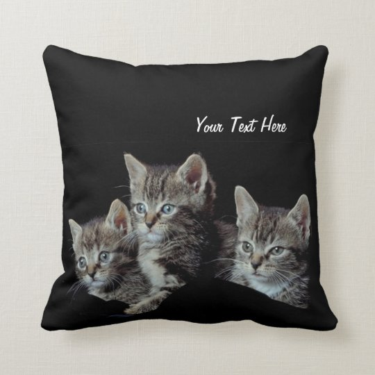 Precious Blue Eyed Kittens Reversible Throw Pillow