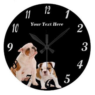 Precious Bulldog Puppies Round Wall Clock