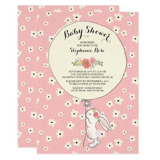 Precious Bunny Girls Baby Shower Invitation