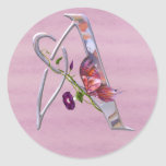 Precious Butterfly Initial A Round Stickers
