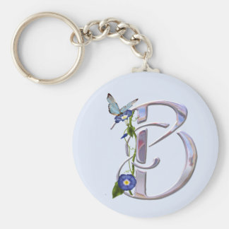 Precious Butterfly Initial B Basic Round Button Key Ring